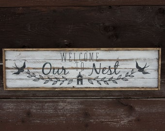 Welcome to Our Nest/Home Distressed Wood Sign Wall Decor Farmhouse