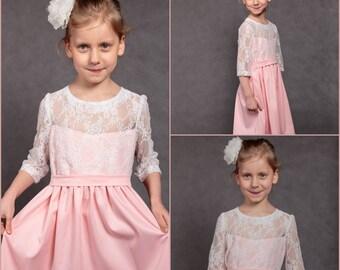 Pink girl dress Flower girls dress Bridesmaids dress Wedding girl dress Pink wedding dress Pink dress Lace girl dress Lace wedding dress