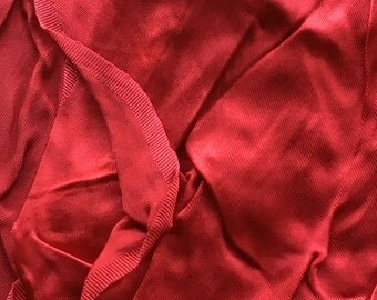 """Vintage Red Silk Satin Fabric // 42x38"""" > candy apple, pomegranate red"""