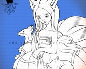 Digital stamp- Gumiho - Nine tailed fox - 300 dpi 2 JPEG/PNG files - MAC0360