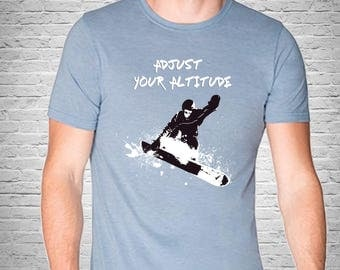 Gym t-shirt, Sports Graphic Tee, Snowboarding T-Shirt Adjust your Altitude, Black and White Contemporary Abstract Drawing, Modern Clothing