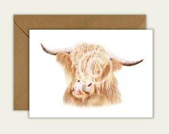 Highland Cow Blank Artist Animal Card