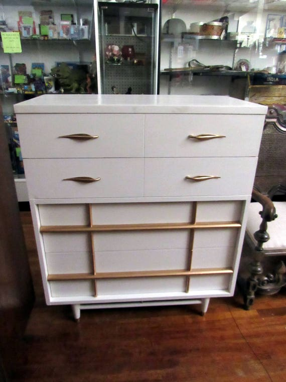Mid Century Modern White and Gold Dresser