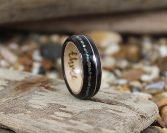 Tulip & Maple Wood Ring With Abalone + Guitar String, Wooden Rings, Mens Wood Rings, Wooden Wedding Rings, Bent Wood Rings, Wooden Ring