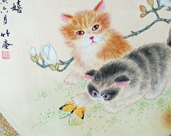 Japanese Vintage Hand Painted Silk Playing Cats Japanese Art Vintage Home Wall Decor