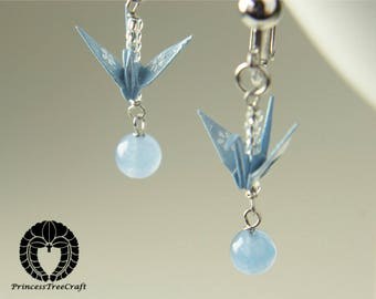 Origami jewelry, origami crane clip on earrings - pastel blue