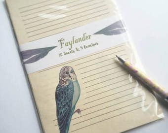 10 Sheets of lined Budgie Paper