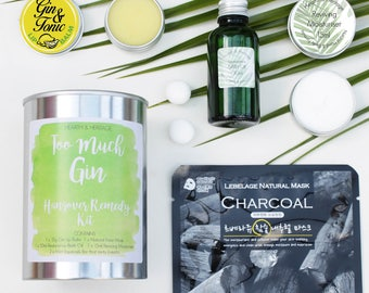 Gin Hangover Kit; Too Much Gin, Gin Beauty Gift, Pamper gift; gin lovers gift.