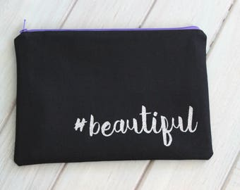 Selfie Makeup Bag, Hashtag Beautiful, Handmade Cosmetic Bag, Zipper Pouch, Black Canvas Makeup Bag, Art Supply Bag, Glitter Vinyl
