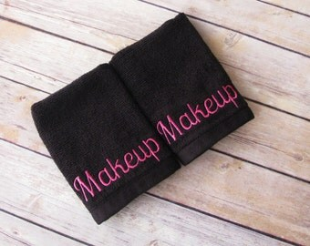 Makeup Towels, washcloth, hand towel, makeup, makeup remover, makeup remover towel, bath towels, black towel, hot pink and black, august ave
