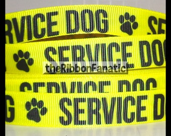 "5 yds 5/8"" Service Dog in Yellow Dog Collar Grosgrain Ribbon"