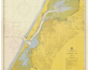 Humboldt Bay - 1954 Nautical Map  -  PC Harbors 5832 Reprint California