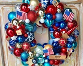 Patriotic wreath; Upcycled ornaments; Fourth of July wreath; USA wreath; Memorial Day wreath; ornament wreath; Red white and Blue