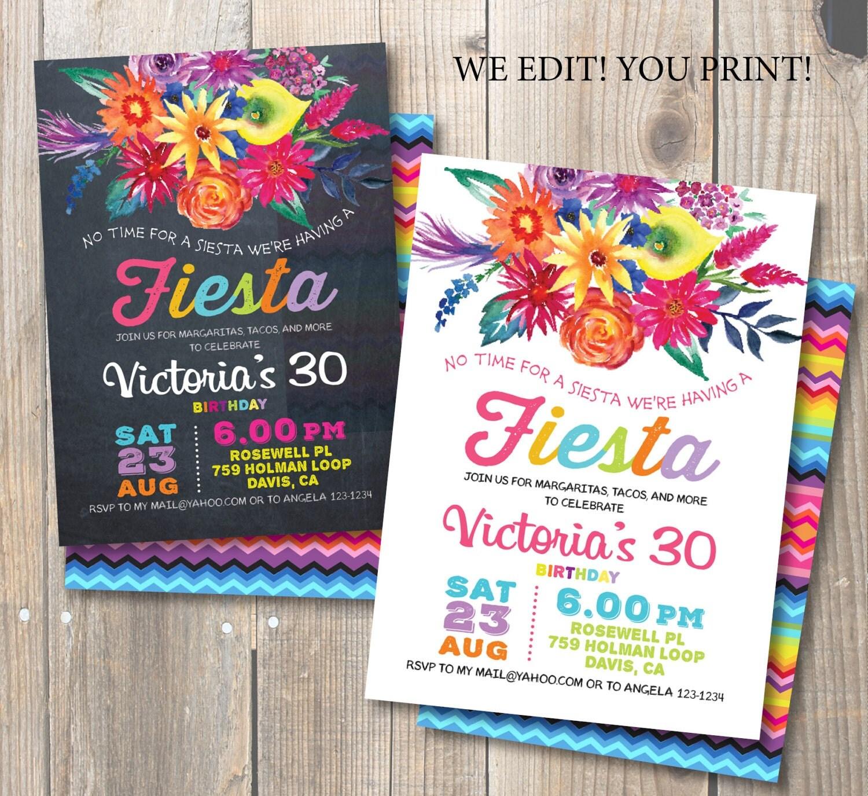 Fiesta Birthday Party Invitation Mexican party Watercolor