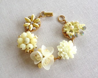 Vintage Earring bracelet, Yellow, Lemon, Butter, vintage, jewelry, bridesmaid, bracelet, gift, cluster, buttercup, butter cup, weddings