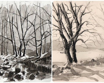 LOT two original watercolors Sepia trees sepia landscape vintage wall decor sepia art tree landscape tree art  home original painting