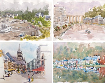"Lot Cities of Brittany original glicée prints 4 painting prints ""Brittany cities 2"" wall decor print watercolor french decor france brittany"