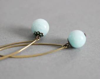 Opal Earrings Blue Opal Earrings Pale Opal Earrings Brass Earrings Long Earrings Gemstone Earrings Opal Jewelry Natural Stone Earrings Opal