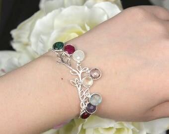 Mothers birthstone bracelet, Mothers family tree bracelet, Personalized bracelet mothers day gift for grandma gifts for mom bracelet