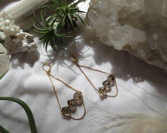 Smoky Quartz Earrings Brown Crystal