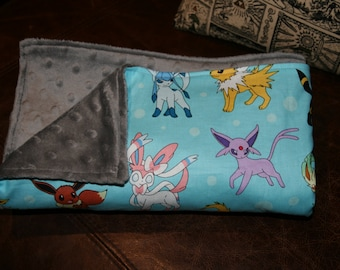 Evee Pokemon Blue Minky Blanket
