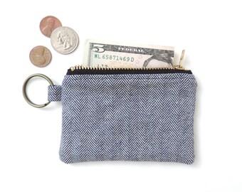 Keychain Coin Purse Slim Wallet Zipper Pouch Blue Herringbone Denim Fisher Stripe