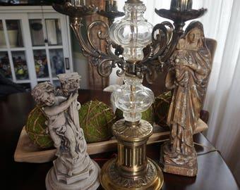 Vintage, Hollywood Regency Brass and Glass Candelabra Lamp