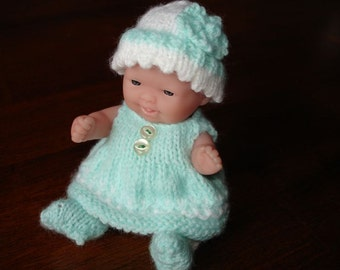 "Lots To Love, Berenguer, Miniature Tiny Doll - Too Cute For Words Baby - 5"" Tall - Mint Green Hand Knit Dress"