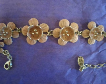 Blush color enamel Flower Bracelet