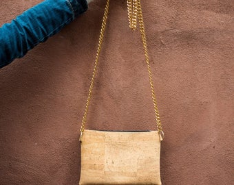 Cork Purse, crossbody purse, gold chain strap