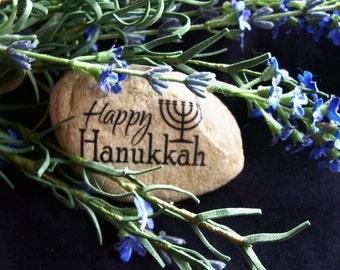 One Happy Hanukkah Menorah Hebrew Rock Stone Chanukkah Hannukah Jewish Hannukah