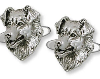 Australian Shepherd Cufflinks Jewelry Sterling Silver Handmade Dog Cufflinks AU10-CL