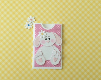 Bunny Easter Gift Card Holder, PreMade, Die Cut, Paper Piecing, Handmade, Friend, Child