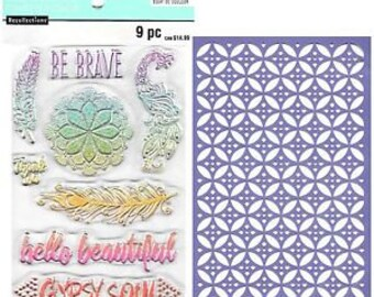 Recollections Color Splash FEATHERS and DOILY - Stamp & Stencil Set Acrylic stamps Stamps 1.cc02