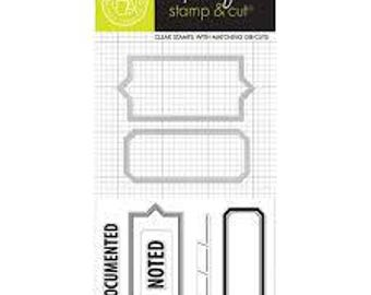 Hero Arts  Clearly Kelly KELLY's DOCUMENTED Stamp & Cut set - tabs labels cutting die set DC145 cc02