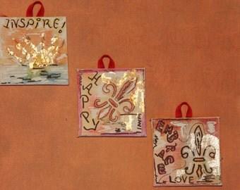 Set of 3 mini inspirational paintings