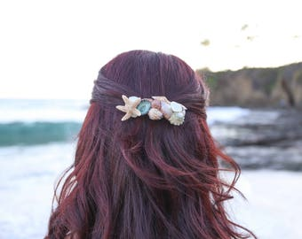 Starfish Hair Clip, Mermaid, Beach Wedding, Seashell Hair Clip, Shell Barrette, Seashell Hair Accessories, Shell Hair Pin, Sugar Starfish