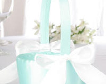 Aqua Satin with White Bow Accents Wedding Flower Girl Basket