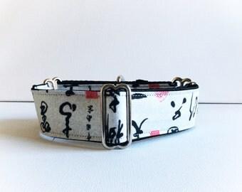 Calligraphy martingale collar (greyhound martingale collar, dog collar, kimono fabric asian grey black traditionnal fabric satin cotton)