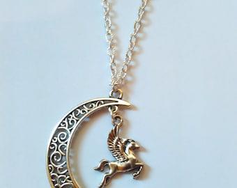 necklace moon pegasus horse kawaii