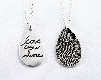 Actual Writing Signature and Fingerprint on a Silver Pendant - Signature Necklace - Memorial Jewelry for Men and Women - Handwriting Jewelry