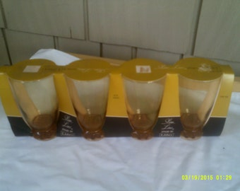 Four Vintage Libbey Amber Tumblers, Libbey Gold Glasses, Amber Tumblers, Gold Glass Tumblers, Gold Water Tumblers