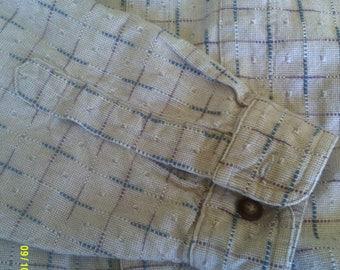 Mens Vintage Heavy Cotton Shirt, size Lg., by Territory Ahead, Men's Tan Shirt Lg, Textured Shirt Lg, Mens Button Down L