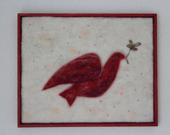Felted Peace Dove, woolpainting