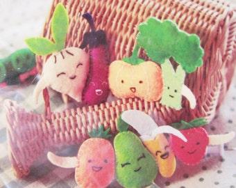 DIY Felt Vegetable Pea Pins, Plush Toy, Craft kit, sew for kid, sew kit, sewing pattern, Shine Kids Crafts