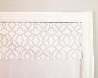"Straight Valance.  Premier Prints Sheffield Miller Grapevine Gray.  Custom Sizing Available Up To 54"" Wide."