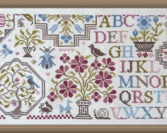 Quaker Sampler of Flowers 3 – counted cross stitch chart to work in 9 colours of DMC threads.  ABC Sampler. Quaker Sampler.