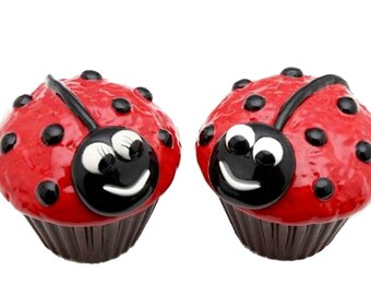 Ladybug Cupcake Salt and Pepper Set