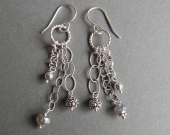 Sterling Silver Chain Dangle Earrings with Labradorite and Bali Beads