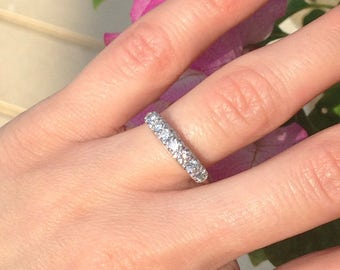 Platinum Diamond Wedding Band Anniversary Ring High Quality Diamonds GIA Gemologist